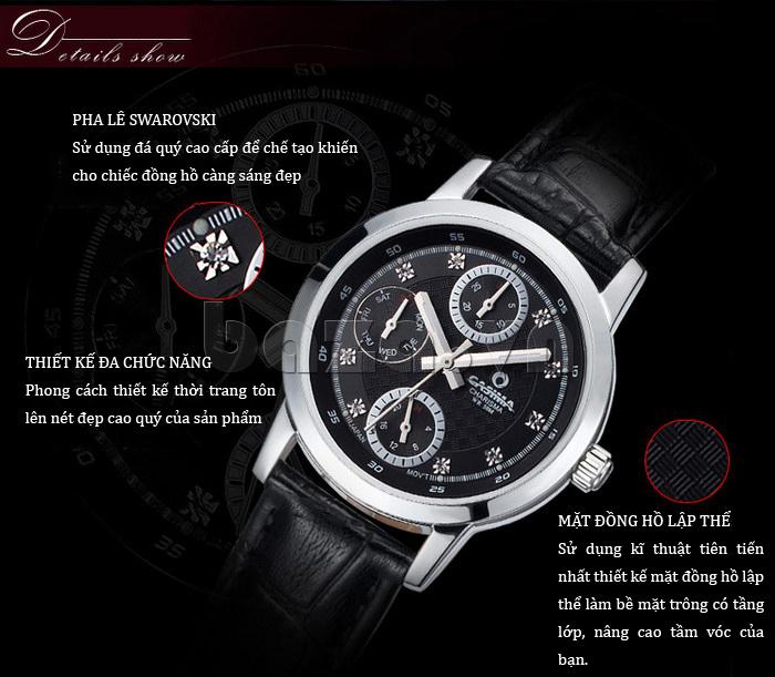 Đồng hồ nam Casima 5105 kim giờ to bản hot