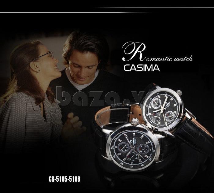 Đồng hồ nam Casima 5105 kim giờ to bản lạ