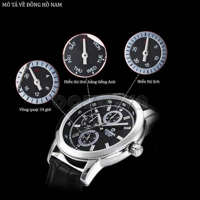 Đồng hồ nam Casima 5105 kim giờ to bản thời trang