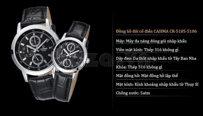 Đồng hồ nam Casima 5105 kim giờ to bản hoàn hảo