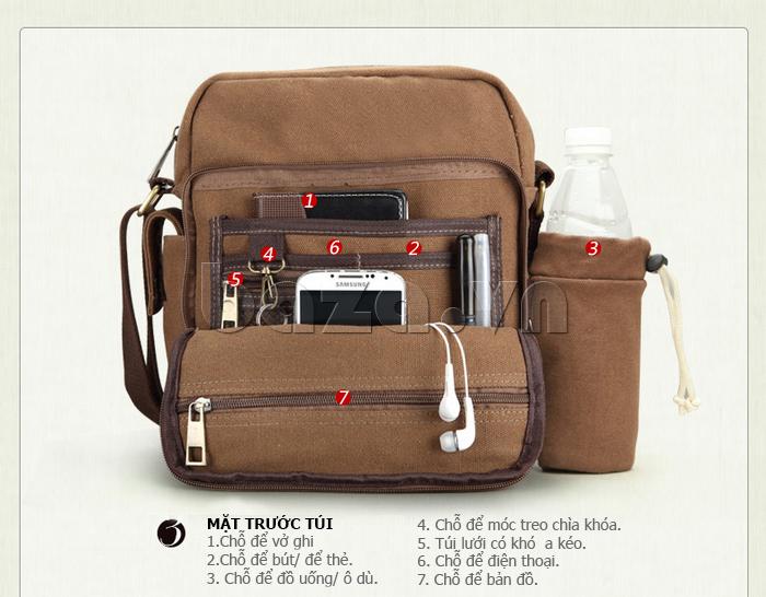 Túi vải nam Feger S038 hai túi nhỏ bên sườn túi đẹp