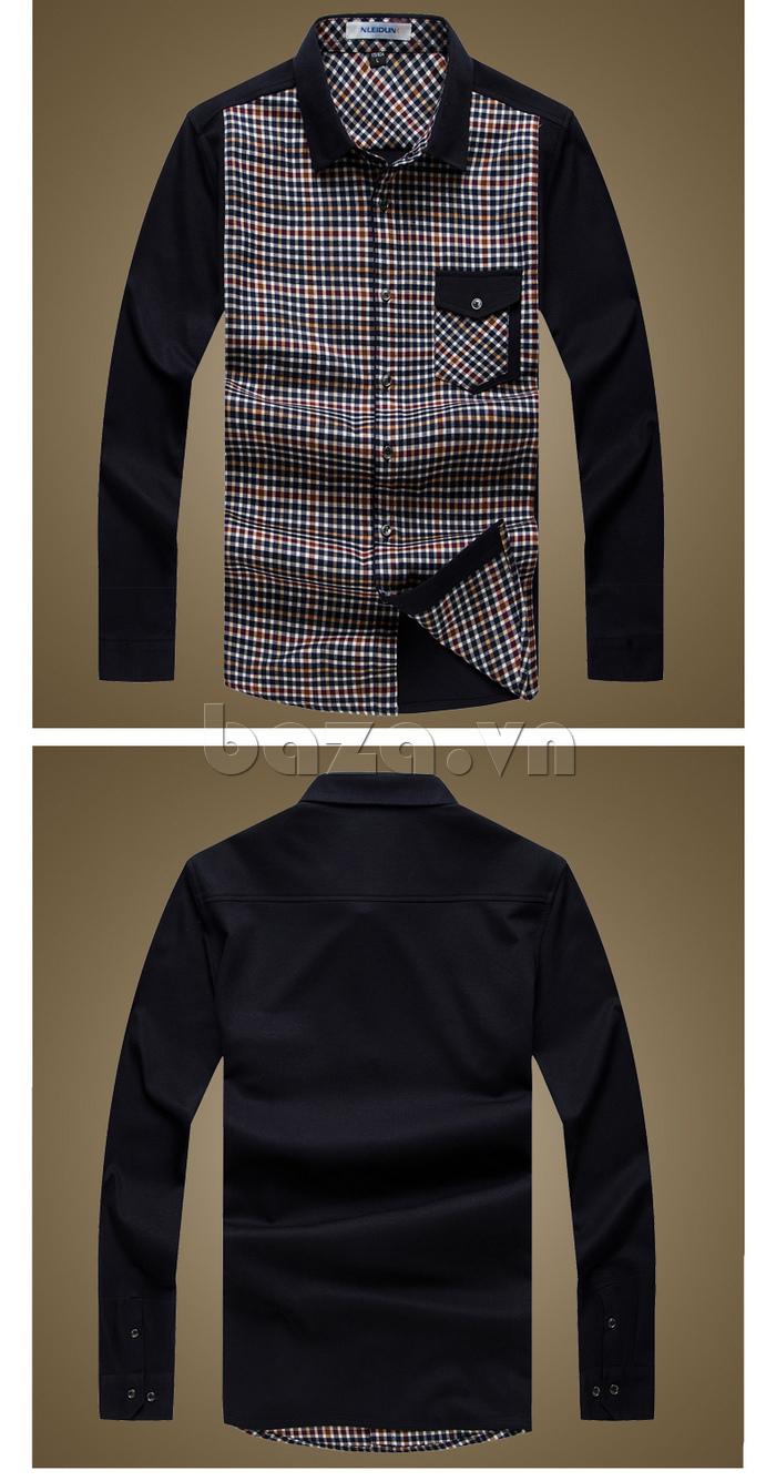 Áo sơ mi nam Nleidun S7001 kẻ ô vuông túi ngực đẹp và thời trang