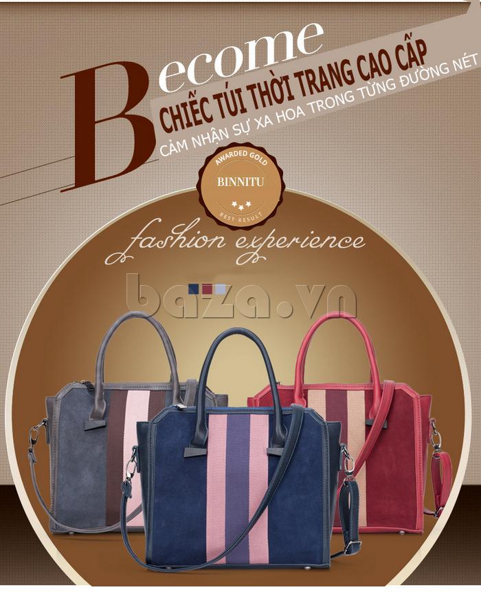 Túi xách nữ Binnitu 082 Thân túi nổi bật túi xách nữ thời trang