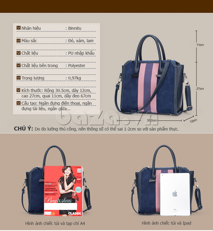 Túi xách nữ Binnitu 082 Thân túi nổi bật túi làm từ chất liệu da cao cấp