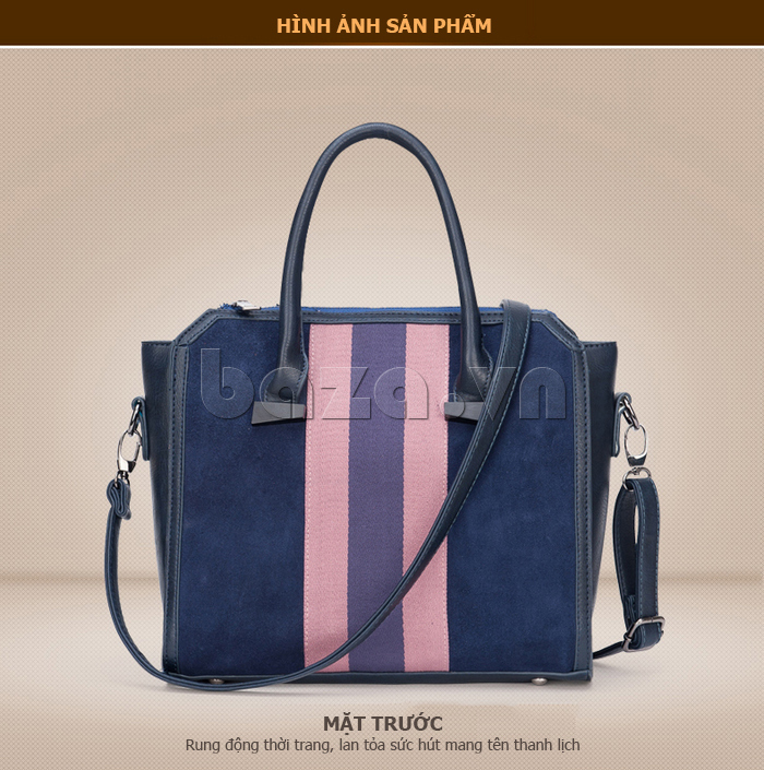 Túi xách nữ Binnitu 082 Thân túi nổi bật  móc khóa kim loại sáng bóng, không bị gỉ