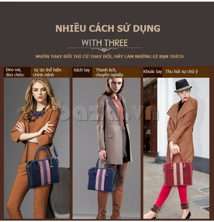 Túi xách nữ Binnitu 082 Thân túi nổi bật có thể đeo theo nhiều kiểu khác nhau