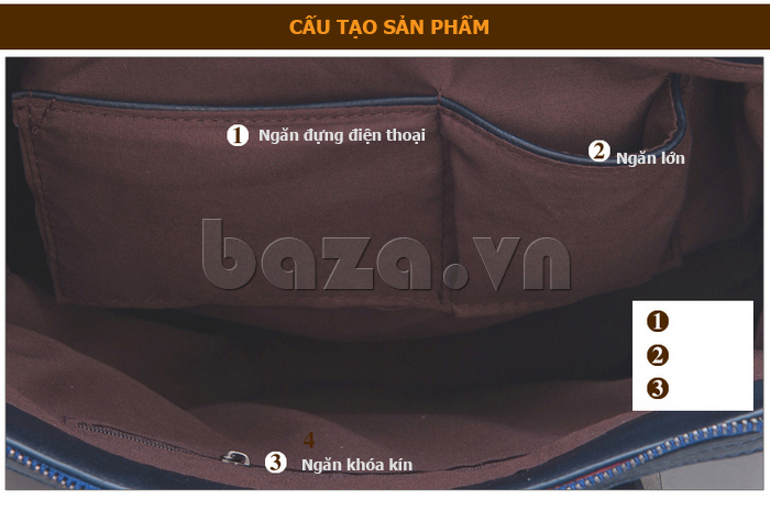 Túi xách nữ Binnitu 082 Thân túi nổi bật  cấu tạo sản phẩm