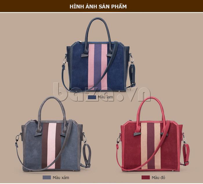 Túi xách nữ Binnitu 082 Thân túi nổi bật phần giữa thân túi được trang trí bằng đường sọc chất liệu vải, màu sắc nổi bật