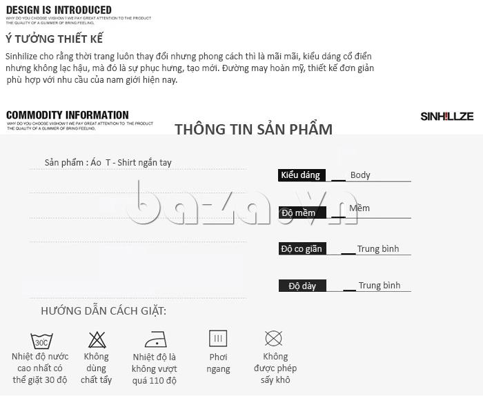 Thông tin sản phẩm của áo nam SINHILLZE Thanh lịch 842