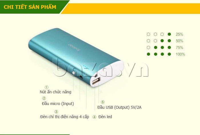 Pin dự phòng di động 10000mA Yoobao S5 nhỏ gọn