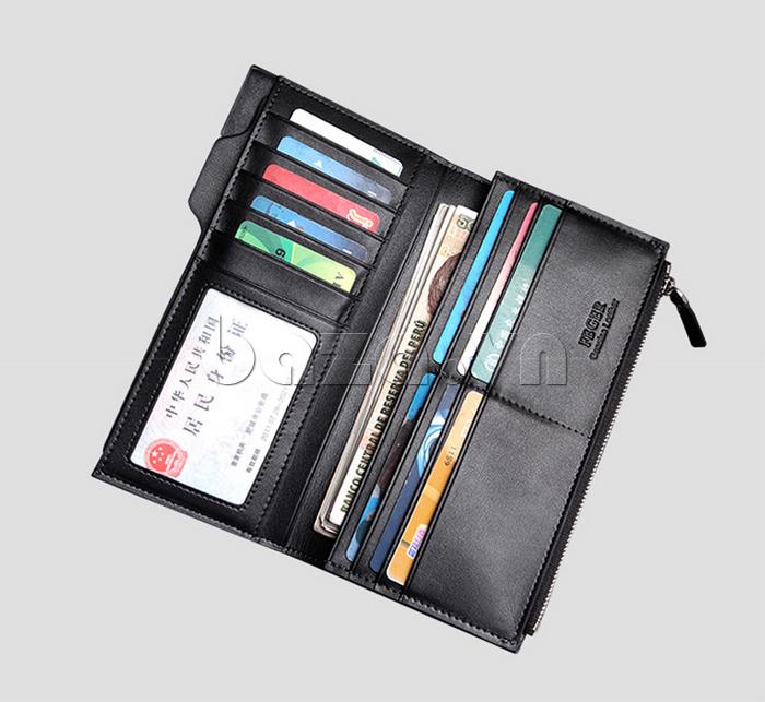 Kiểu ví có nhiều ngăn hỗ trợ nam giới đựng rất nhiều giấy tờ, thẻ, tiền