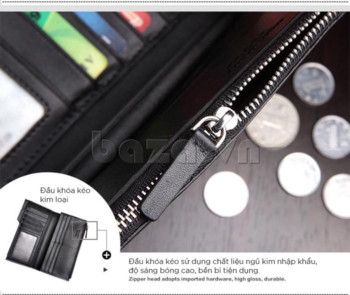 Đầu ví khóa kéo sử dụng chất liệu ngũ kim nhập khẩu với độ sáng bóng cao, bền bỉ, tiện dụng