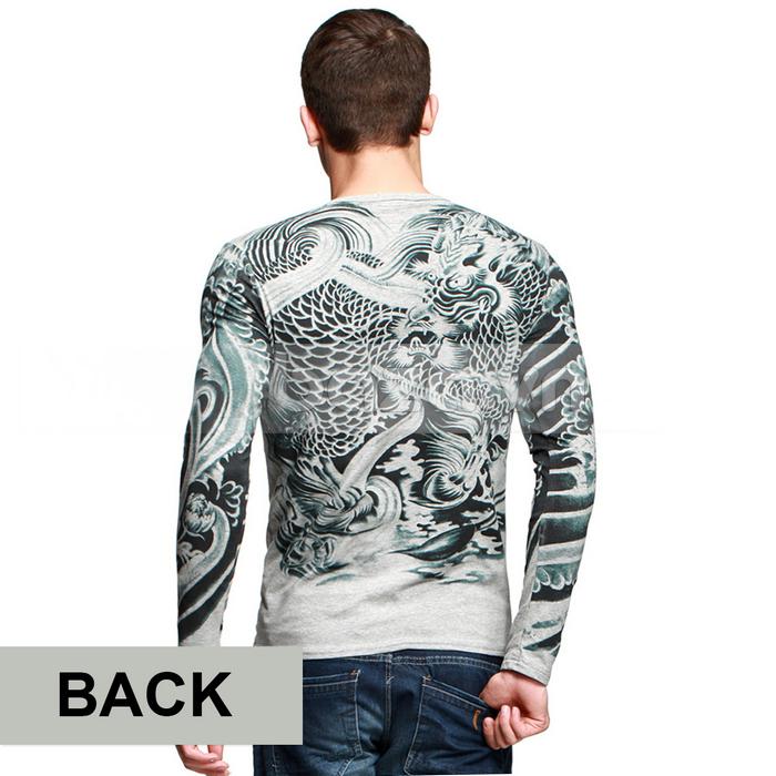 Baza.vn: Áo T-shirt nam thu đông MT-9917 họa tiết đối xứng và cuốn hút hai bên tay áo