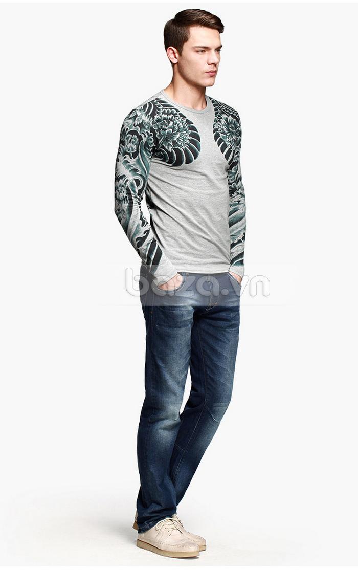Baza.vn: Áo T-shirt nam thu đông MT-9917 sang trọng và cá tính ư