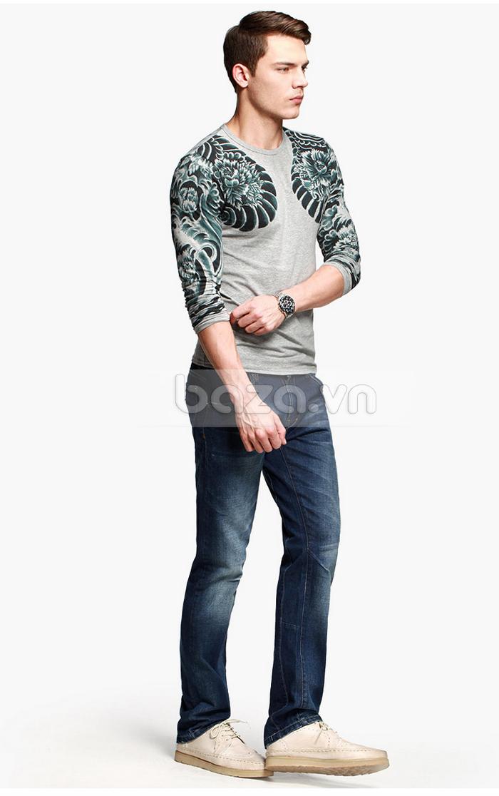Baza.vn: Áo T-shirt nam thu đông MT-9917 cổ tròn thời trang