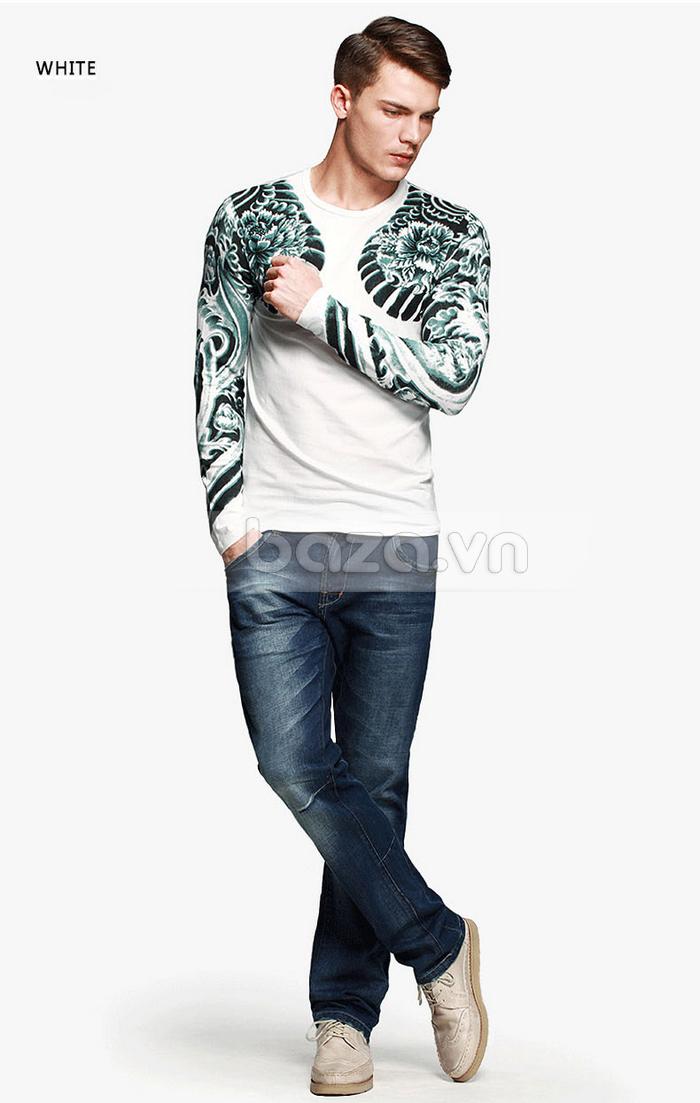 Baza.vn: Áo T-shirt nam thu đông MT-9917 màu trắng trang nhã