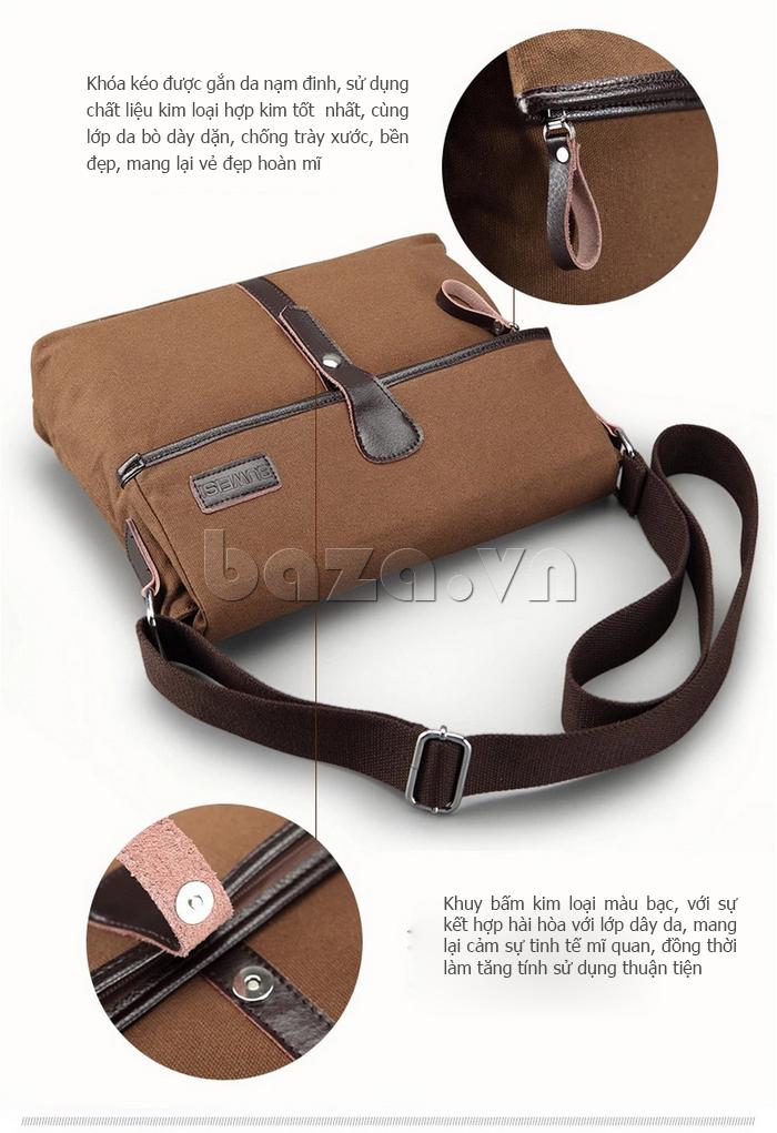 Túi đeo thời trang Buweisi S062 khóa kéo gắn da nạm đinh