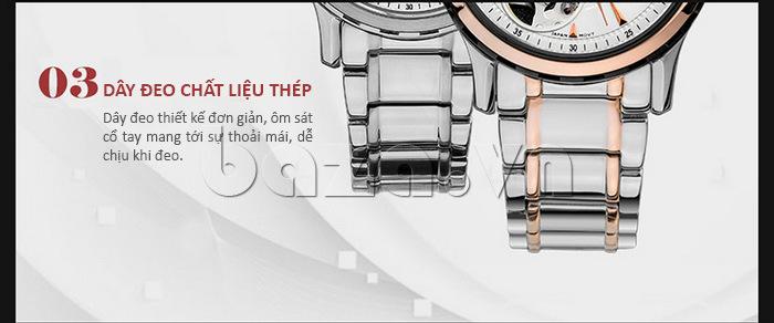 Dây đeo đồng hồ chất liệu thép không gỉ, thiết kế đơn giản, ôm sát cổ tay
