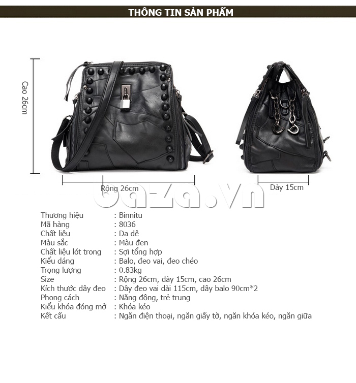 Túi nữ sành điệu Binnitu 8036