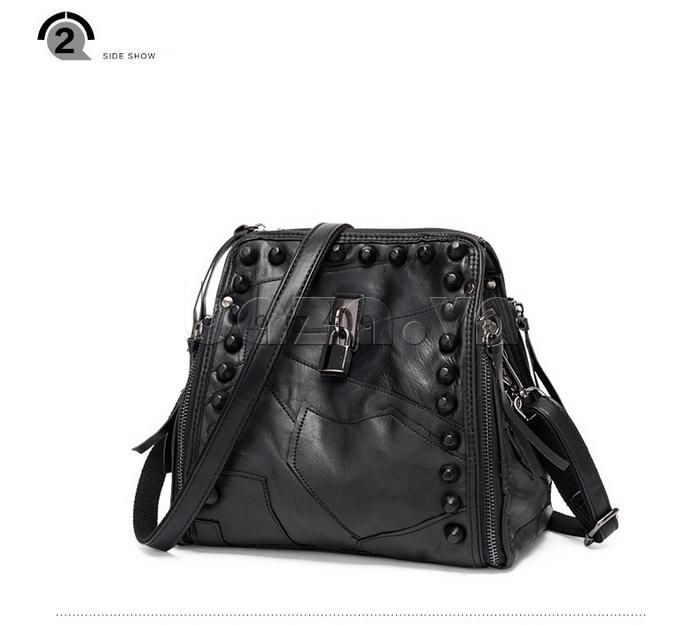 Túi nữ nạm đinh màu đen cá tính Binnitu 8036