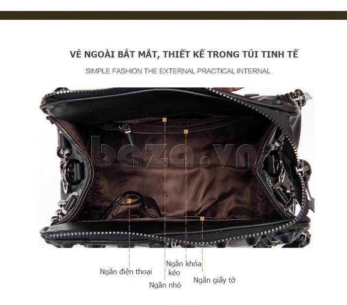 Túi nữ nạm đinh Binnitu 8036 ngăn chứa rộng rãi