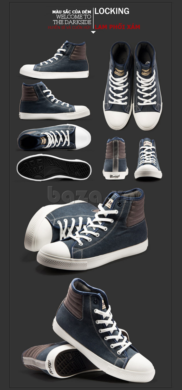 giày vải nam Notyet NY-LD3309 có nhiều màu sắc độc đáo
