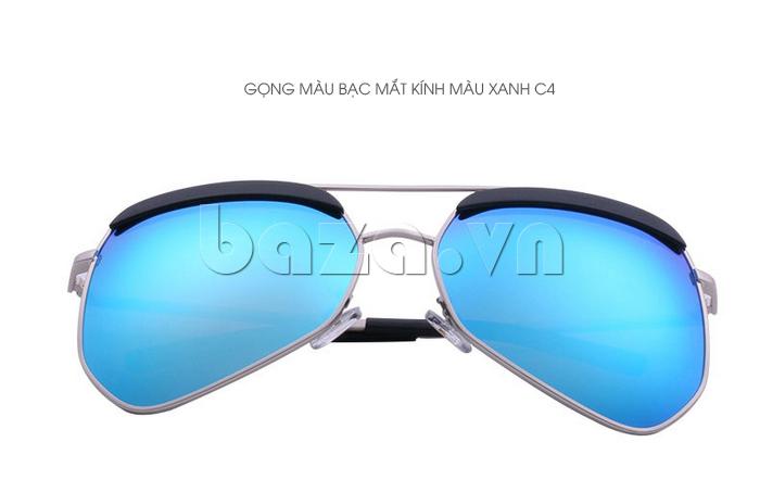 Kính râm phân cực Unisex BLSBlues 15050 - gọng màu bạc, mắt kính màu xanh