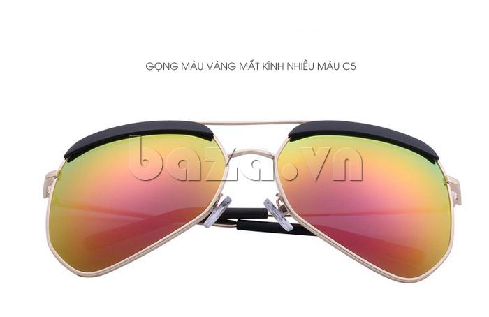 Kính râm phân cực Unisex BLSBlues 15050 - gọng vàng, mắt kính nhiều màu