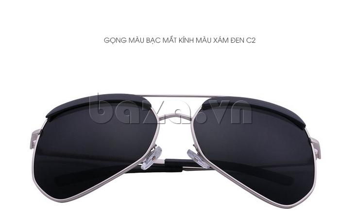 Kính râm phân cực Unisex BLSBlues 15050 - gọng màu bạc, mắt kính màu xám