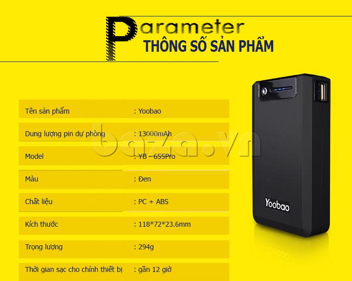 Pin dự phòng di động 13000mA Yoobao YB-655pro tiện lợi