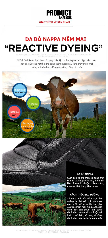 Giầy casual nam phong cách thể thao CDD D695 - da bò mềm mại