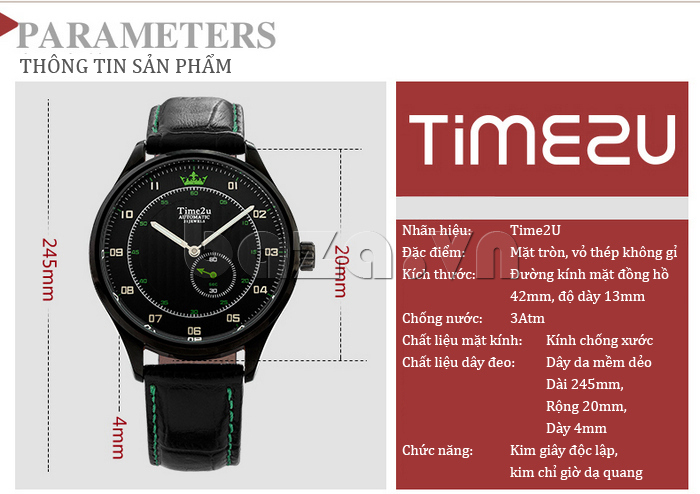 Đồng hồ nam Time2U 91-18958 chính hãng