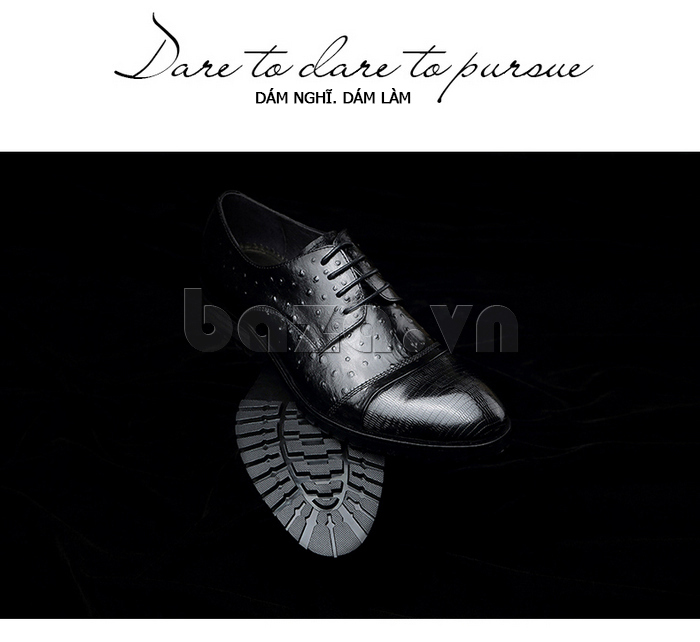 Giày da nam VANGOSEDUN 732169 hoa văn gai, cá sấu thời trang