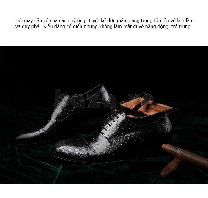 Giày da nam VANGOSEDUN 732169 hoa văn gai, cá sấu vẻ đẹp cho các quý ông thành đạt