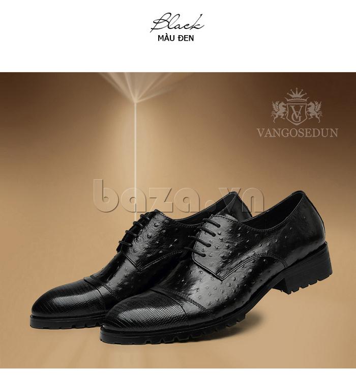 Giày da nam VANGOSEDUN 732169 hoa văn gai, cá sấu trang trí họa tiết nổi