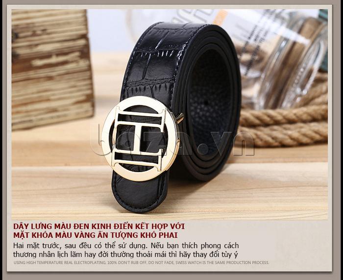 Dây lưng nam Feayoo FY-D072 dây đen khóa chữ H vàng