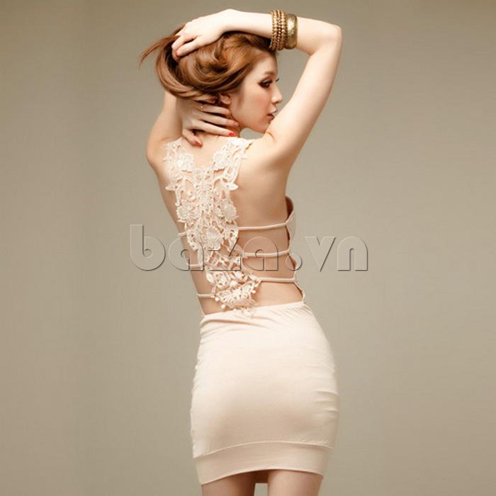 Váy bó sát toàn thân quyến rũ Flower Angel A002 lưng trần gợi cảm