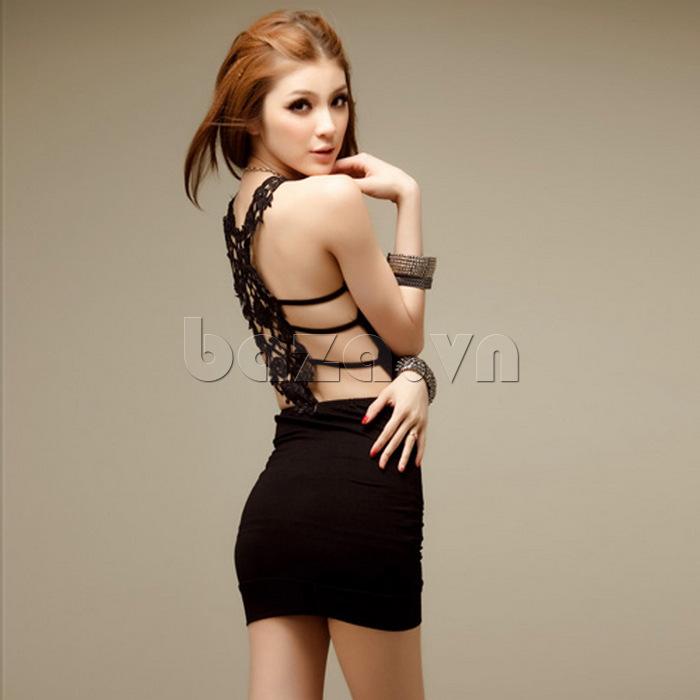 Váy bó sát toàn thân quyến rũ Flower Angel A002 màu đen quyến rũ