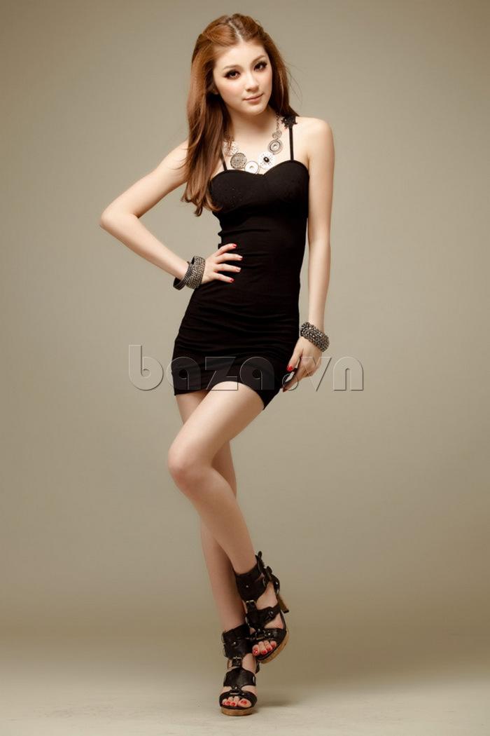 Váy bó sát toàn thân quyến rũ Flower Angel A002 màu đen huyền bí