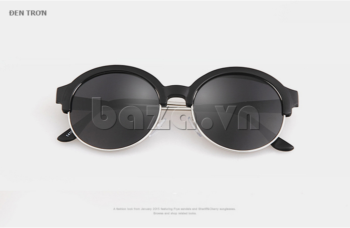 Kính mắt Unisex mắt tròn thời trang MSMK 1410 - đen trơn