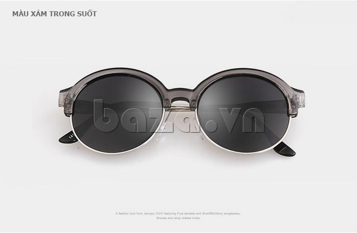 Kính mắt Unisex mắt tròn thời trang MSMK 1410 - màu xám trong suốt