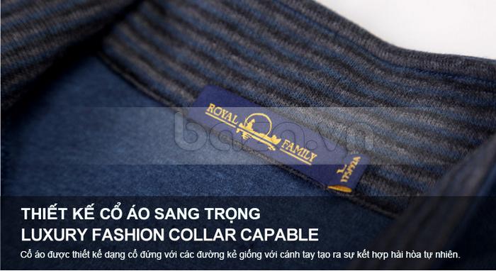 Thiết kế cổ áo đứng với các đường kẻ sang trọng, tự nhiên