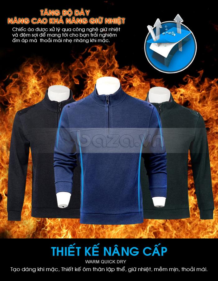 Chiếc áo được xử lý qua công nghệ giữ nhiệt và đệm sợi để mang tới cho bạn trải nghiệm ấm áp, nhẹ nhàng