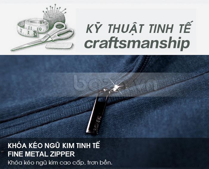 Khóa kéo áo chất liệu ngũ kim tinh tế, cao cấp, trơn bền