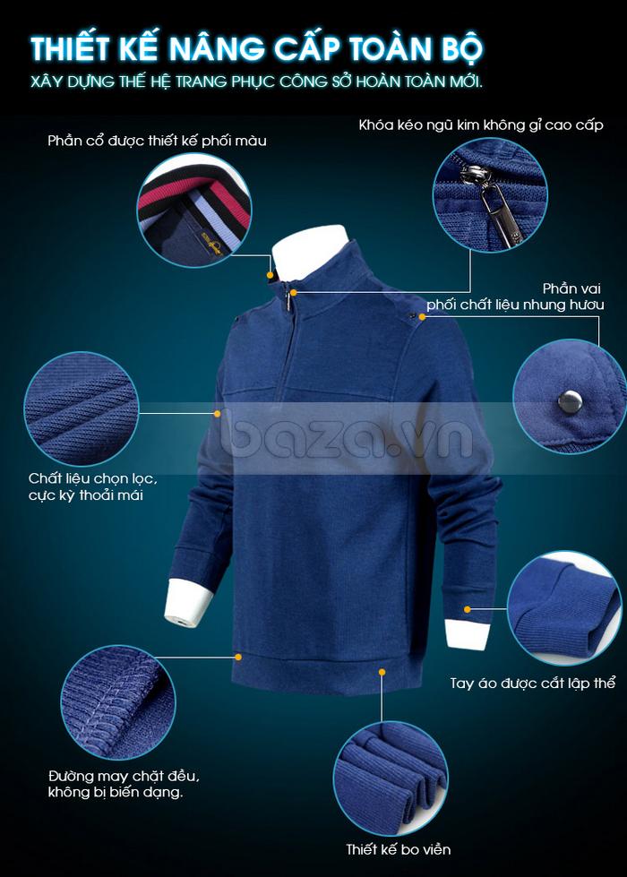 Vai áo được phối chất liệu nhung hươu