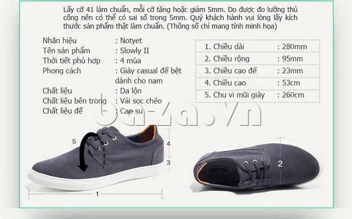 Thông sô của Giày nam Notyet NY-SB3272