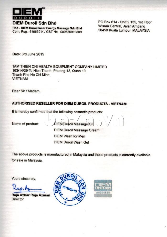 Giầy phép nhập khẩu và phân phối sản phẩm Dung dịch massage dương vật DIEM Duroil Massage Oil