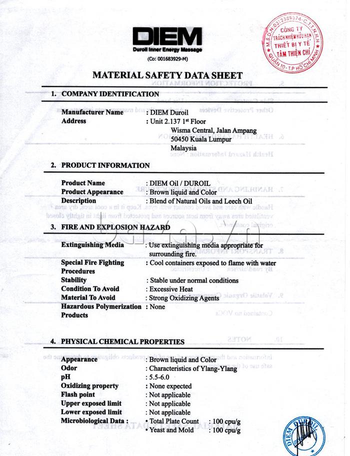 Giấy chứng nhận thương hiệu của Dung dịch massage dương vật DIEM Duroil Massage Oil