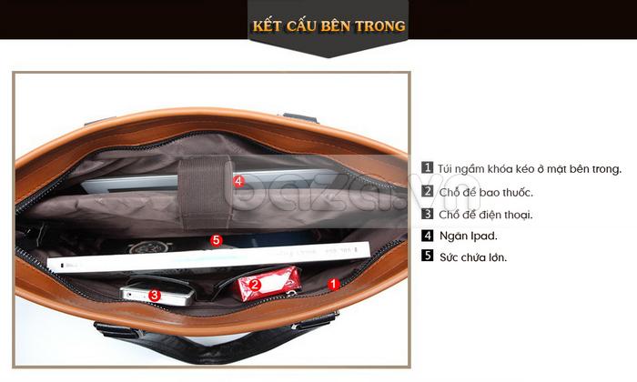 Túi da nam FG054 Đường vân xương cá thật đặc biệt