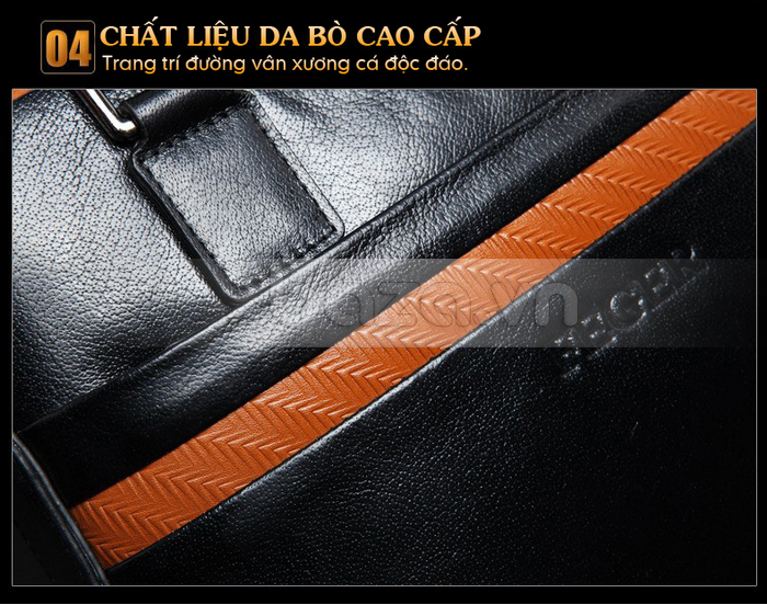 Túi da nam FG054 Đường vân xương cá thật hoàn hảo và đẹp